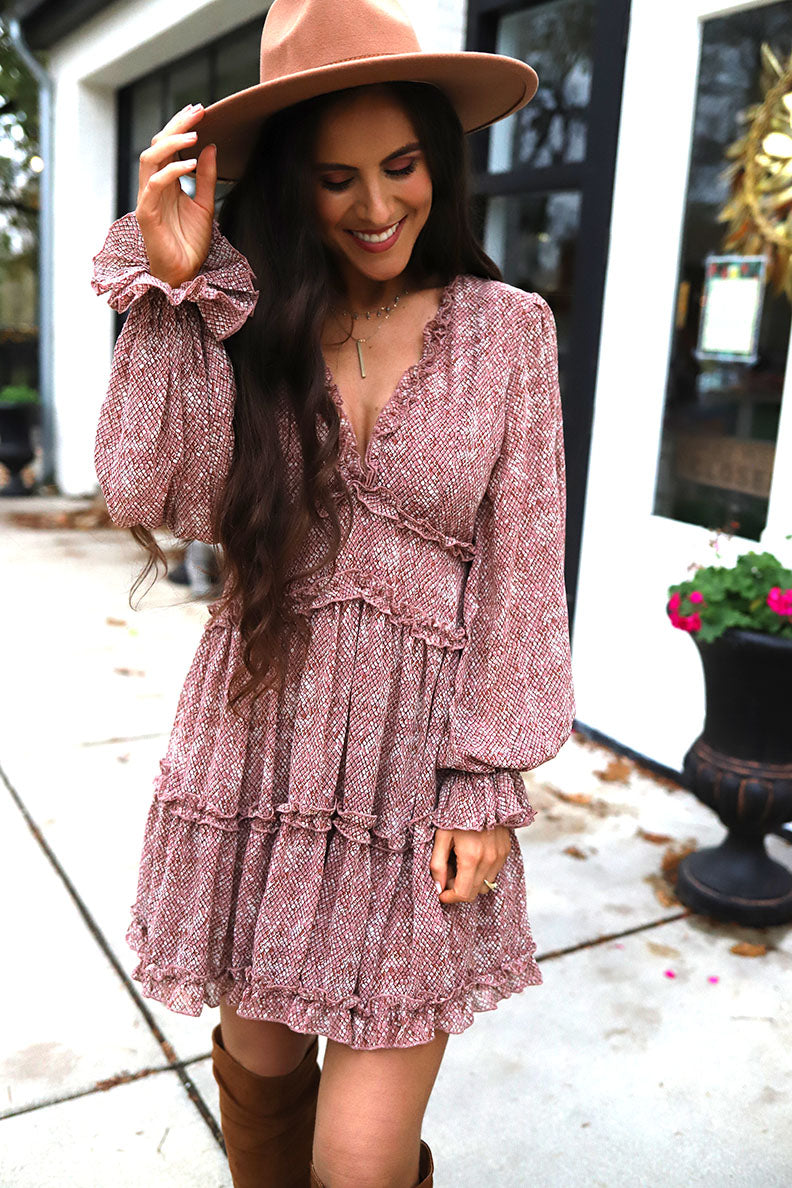 Dalia Snakeskin Pattern Ruffled Dolman Sleeve Boho Dress - Rose