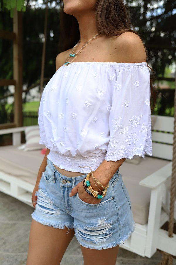 Madora Embroidered Eyelet Smocked Off Shoulder Top - White