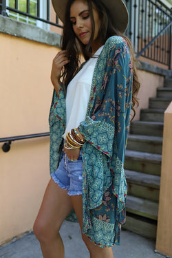 Bohemian Allure Floral Wide Sleeve Teal Kimono **RESTOCKED**