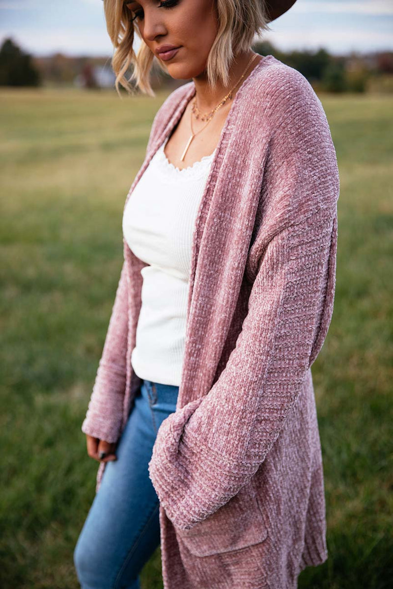Dreamer Chenille Bell Sleeved Cardigan - Blush
