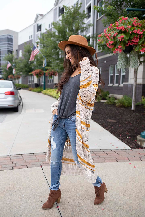 Haven Multi Striped Knit Cardigan Duster - Barefoot Dreamer