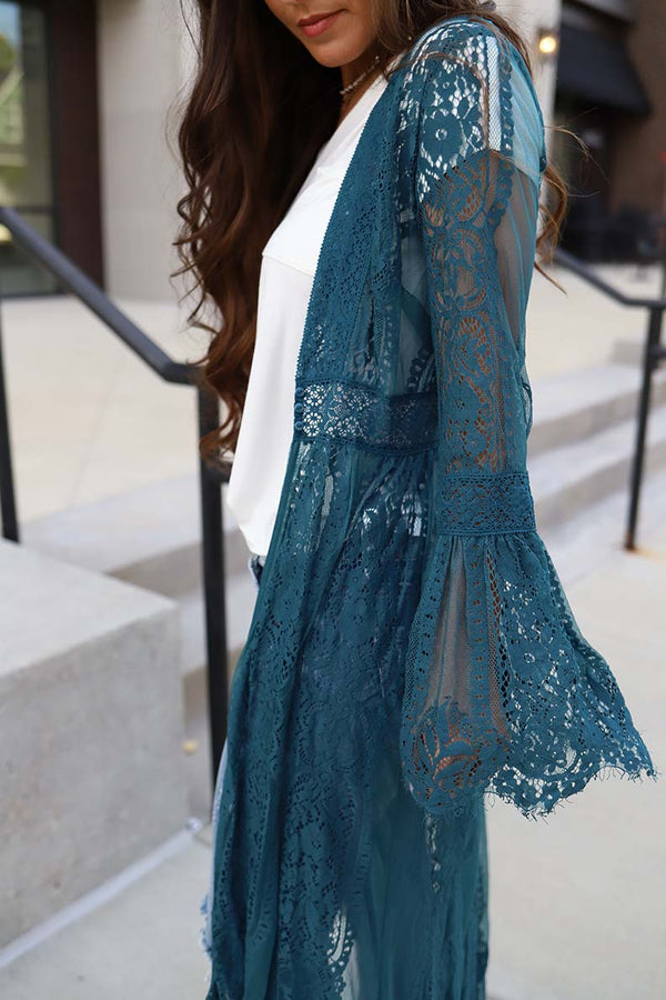 Wildest Dreams Long Lace Bell Sleeve Boho Duster - Teal