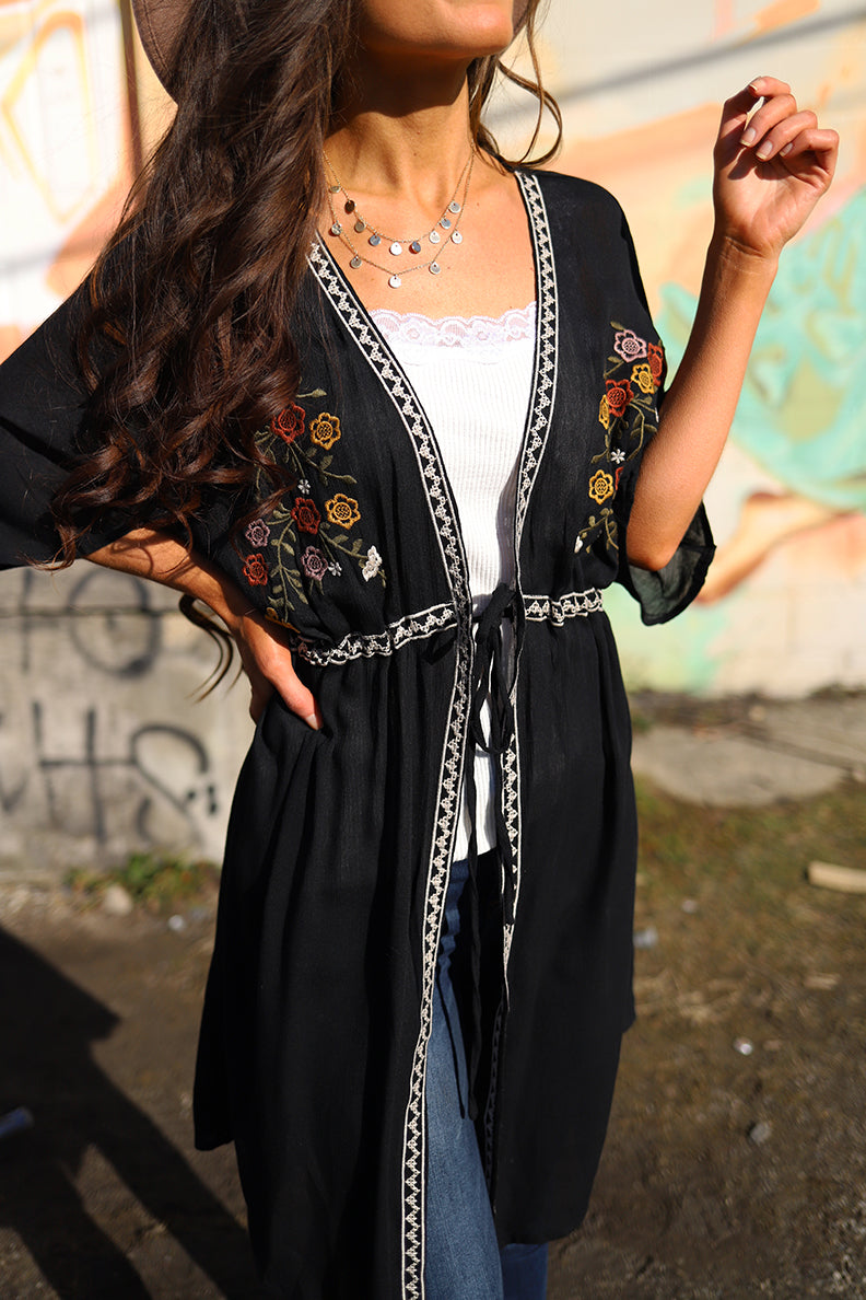 Wild Bloom Embroidered Front Tie Kimono - Black - Barefoot Dreamer