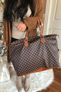 The Luxe Checkered Weekender Bag - Brown