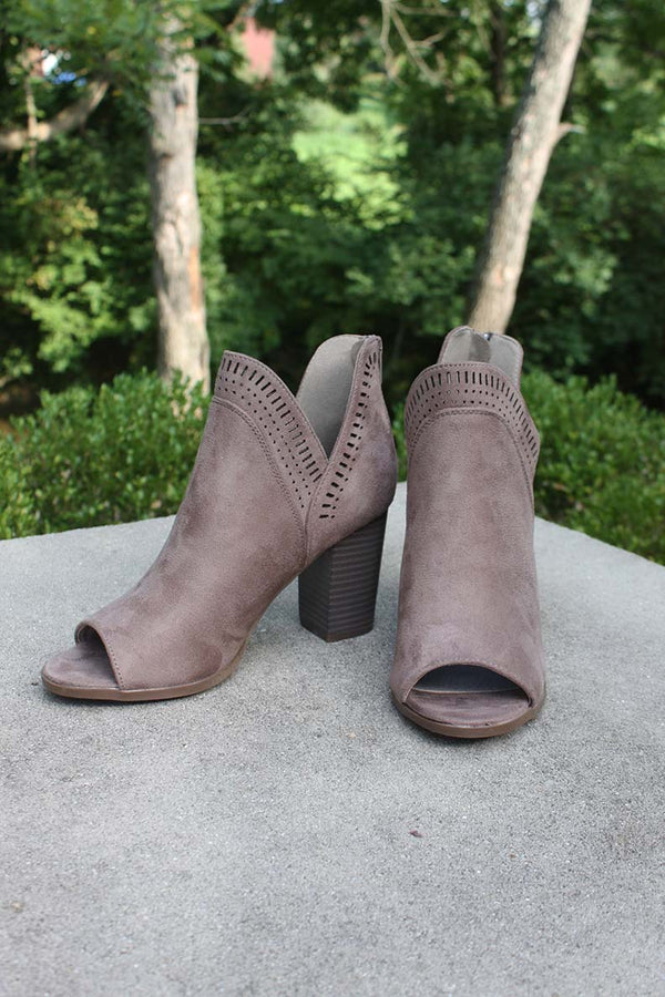 Kiara Side Slit Peep Toe Ankle Booties - Taupe