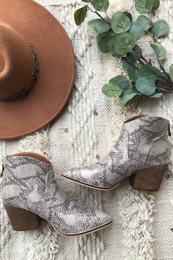 The Eden Snakeskin Pointy Toe Ankle Bootie