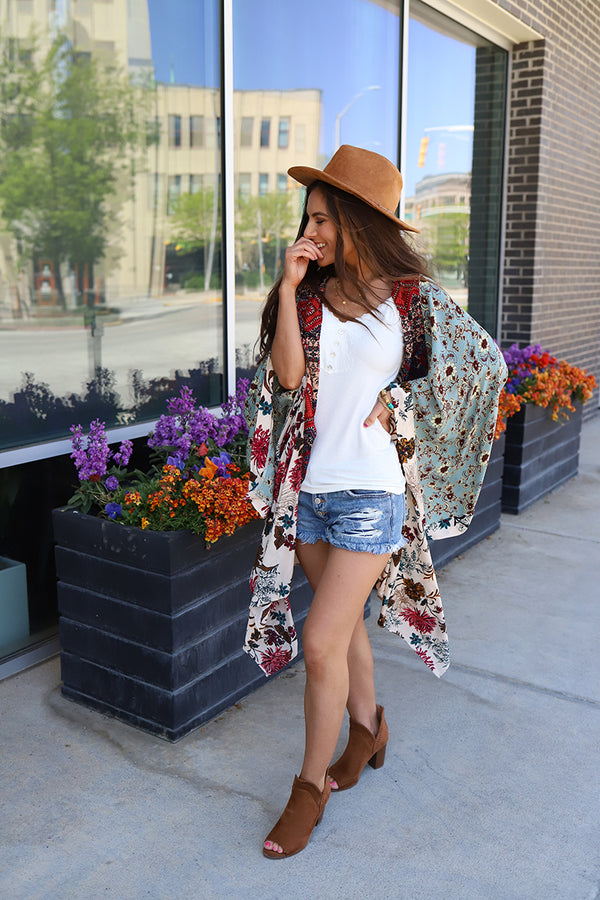 Meadow Floral Patchwork Boho Kimono - Vanilla Mix *RESTOCKED*