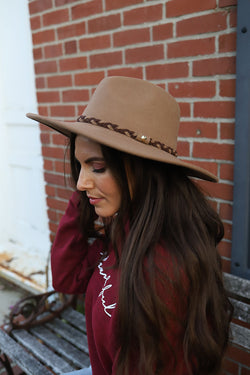 The Denver Wool Panama Hat With Braided Accent-  Pecan