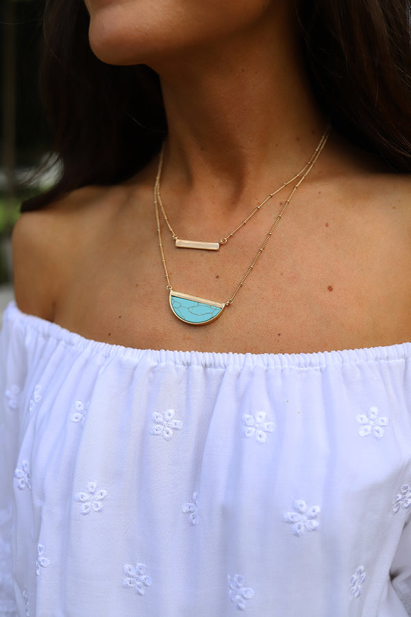Emory Half Circle Marbled Turquoise Layered Bar Necklace