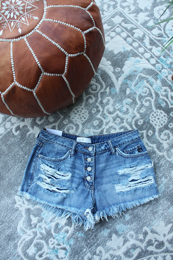 Cali Dreamin' Distressed Mid-rise Kancan Shorts - Medium Wash - Barefoot Dreamer