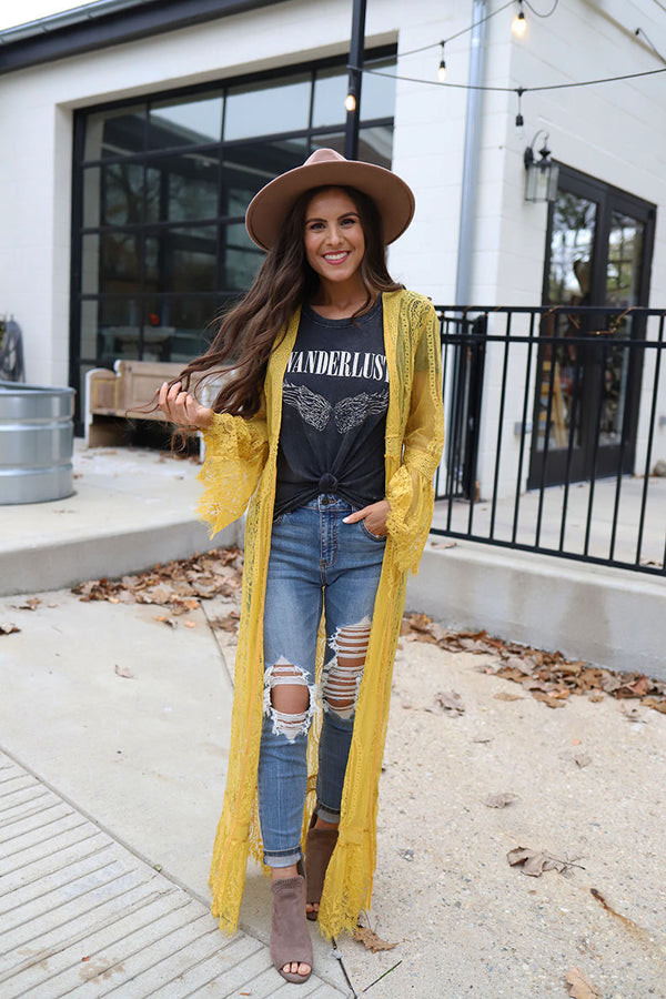 Wildest Dreams Long Lace Bell Sleeve Boho Duster - Mustard