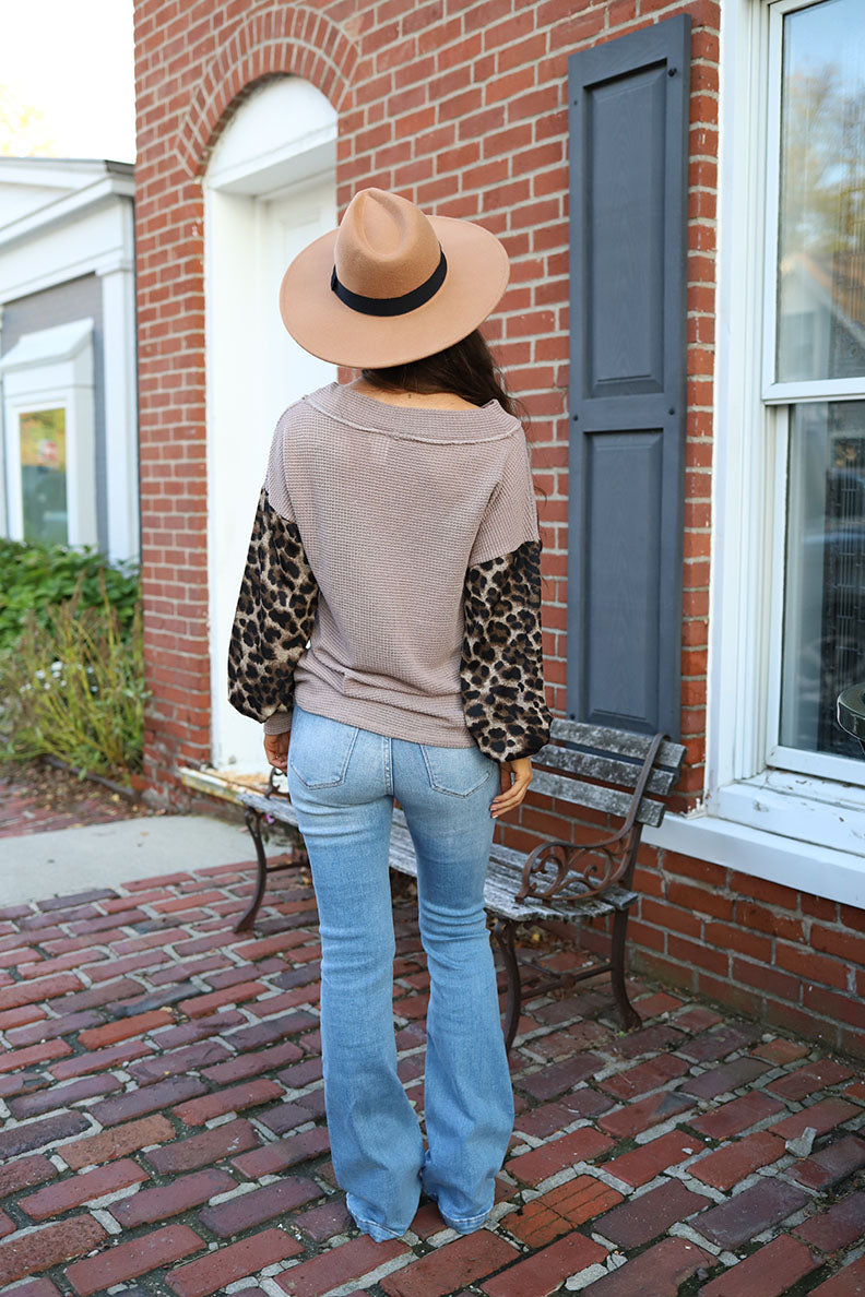 Wildly Loved Leopard Contrast Sleeve Colorblock Waffle Knit Top
