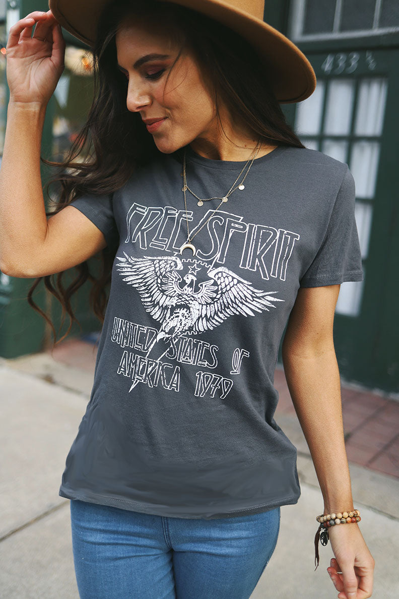 Free Spirit Graphic Tee - Grey - Barefoot Dreamer