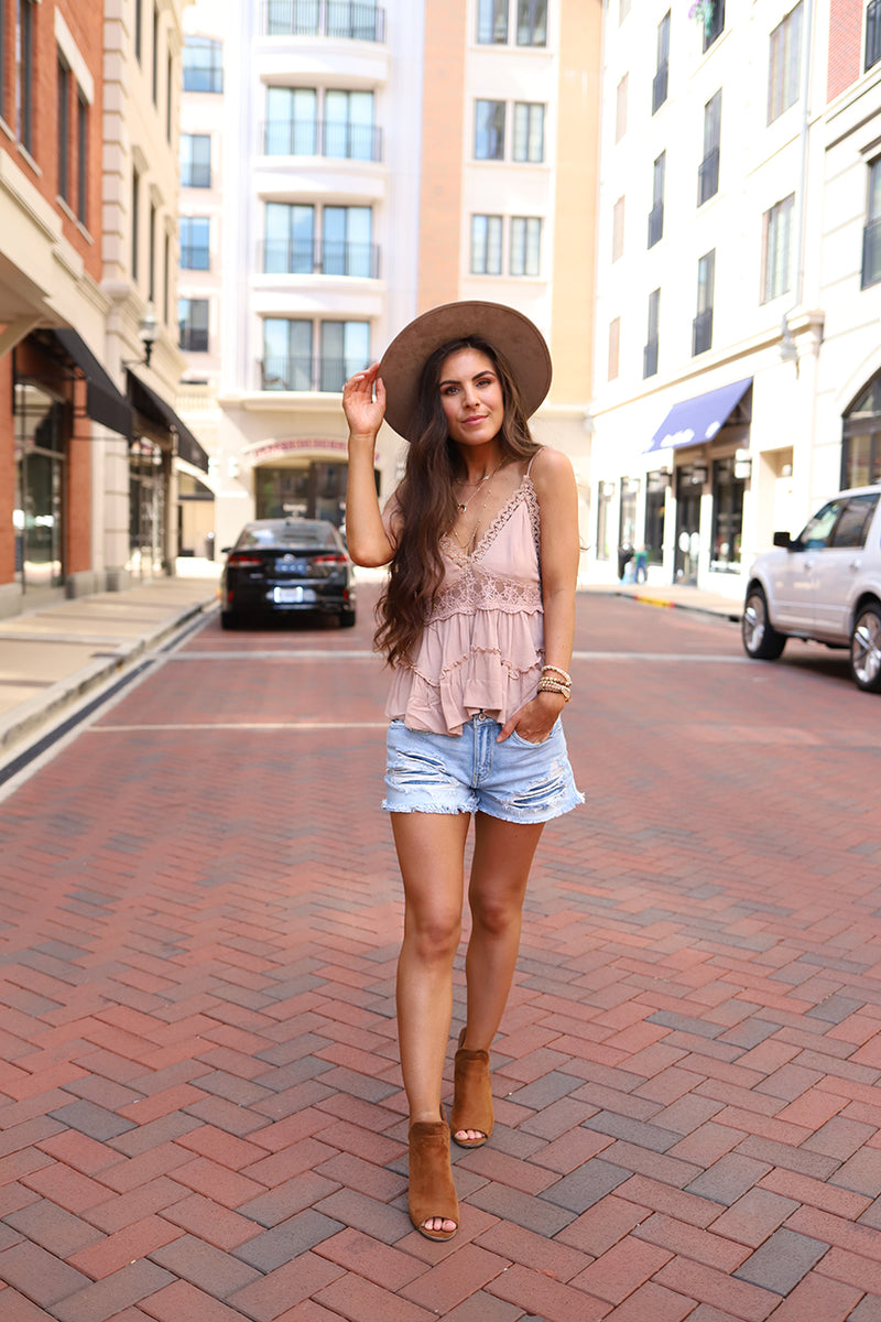 Raylin Crochet and Lace Ruffled Spaghetti Strap Boho Top - Dusty Rose