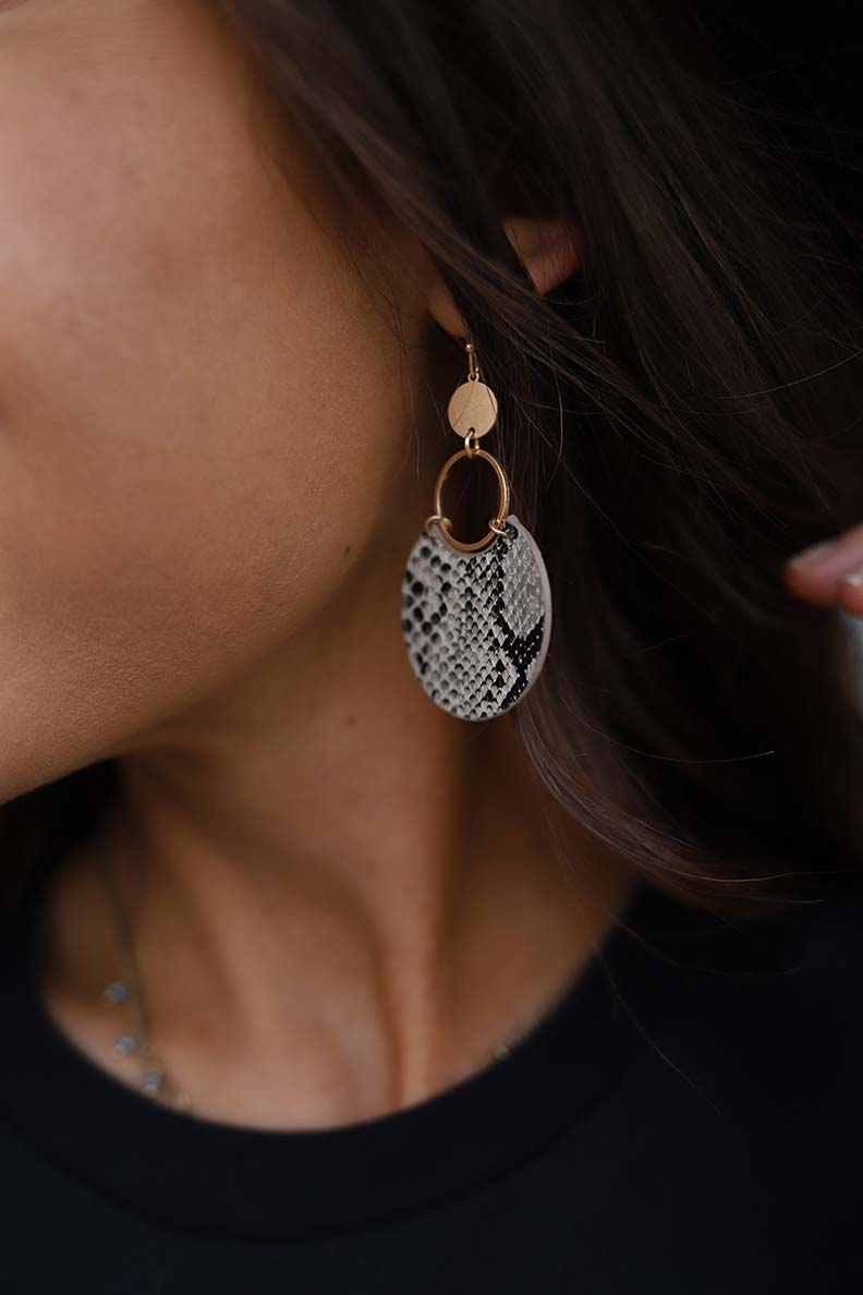 So Snakey Snakeskin Earrings