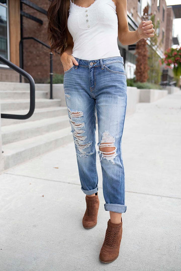 Such A Cut Up Distressed Ankle Boyfriend Jeans - Medium Wash - Barefoot Dreamer