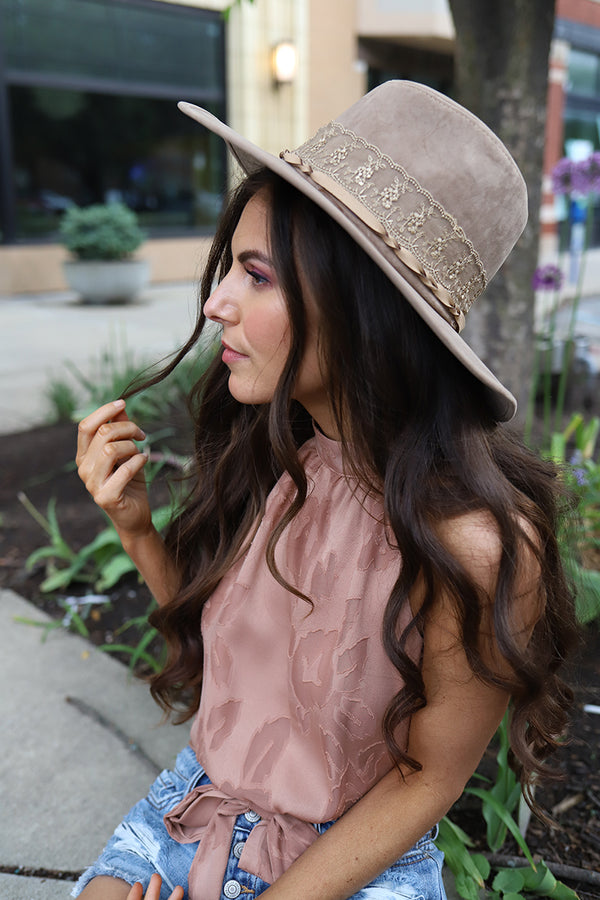 Boho Darling Wide Brim Lace and Ribbon Accented Rancher Hat - Khaki