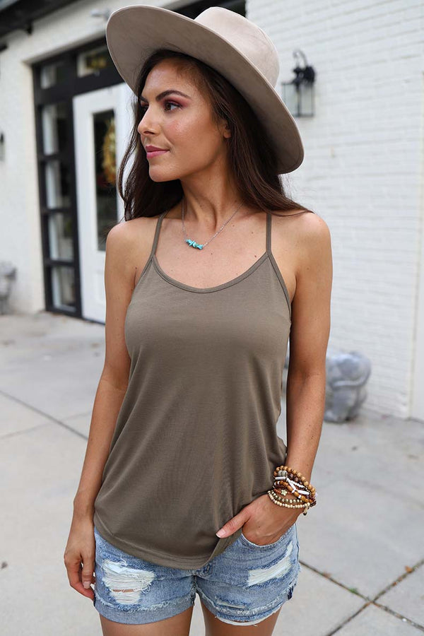 The Lexi Razorback Basic Cami Tank- Olive