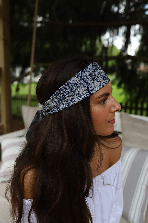 Gypsy Dreamin' Head Wrap Scarf- Navy