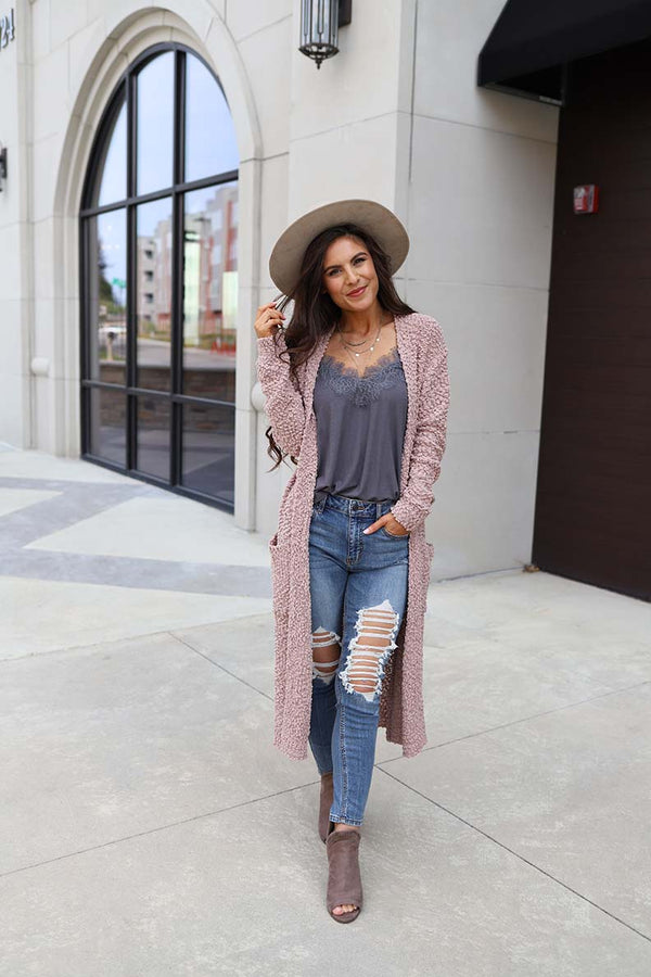 Emerie Open Front Long Popcorn Knit Cardigan - Mauve