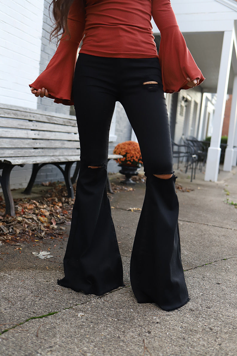 Hippie State of Mind Distressed Bell Bottoms - Black