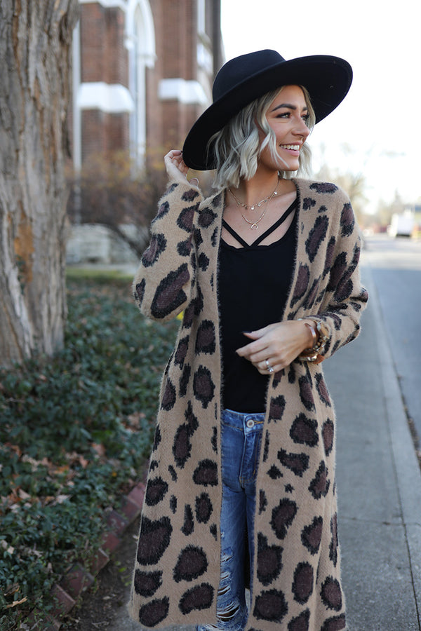 The Haven Leopard Print Soft and Fuzzy Cardigan