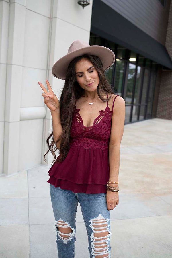 Annistyn Lace Bralette Scalloped Peplum Top - Wine