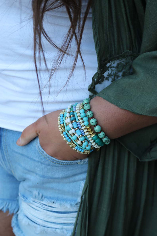 Boho Glam Multi Beaded Bracelet Stack - Barefoot Dreamer