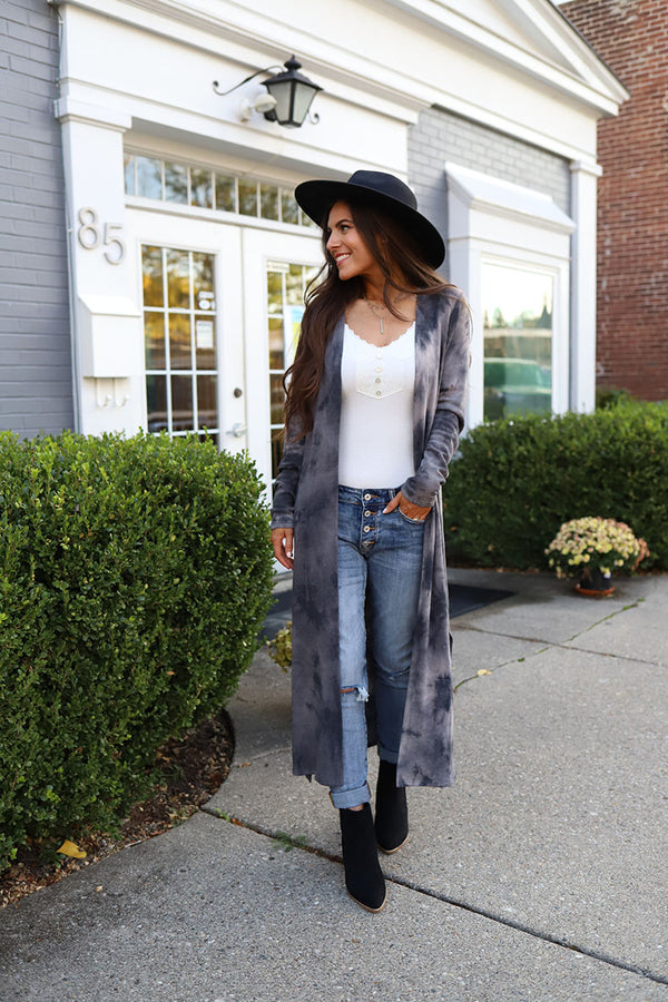 Midnight Wonder Tie Dye Side Slit Long Cardigan - Charcoal