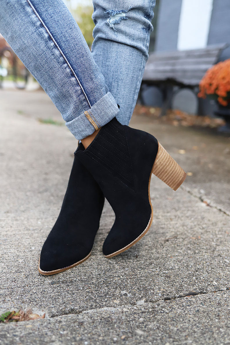 Calista Block Heel Suede Ankle Bootie - Black
