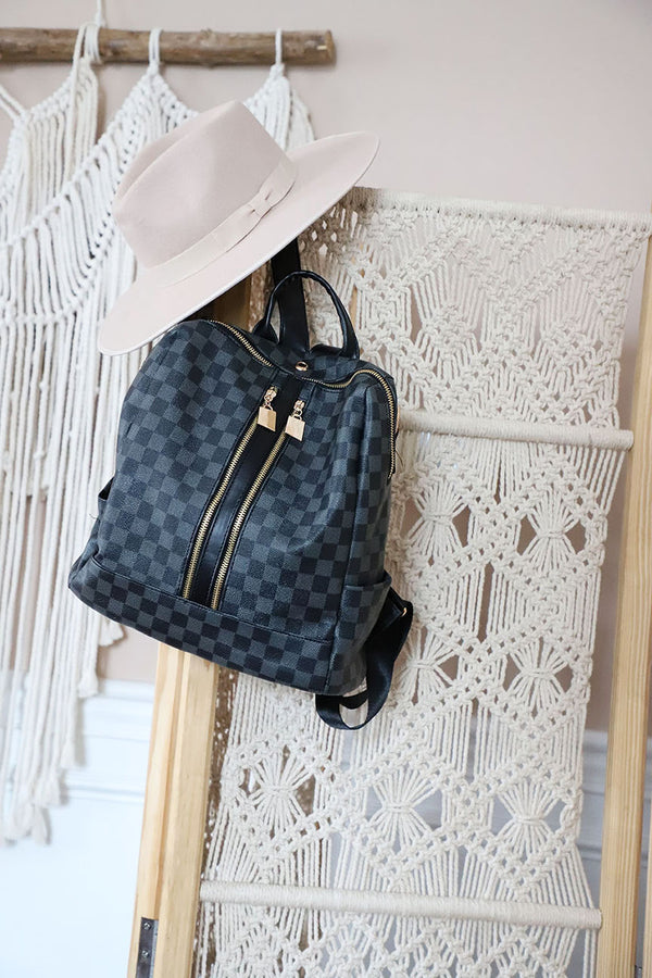 The Luxe Checkered Backpack - Black