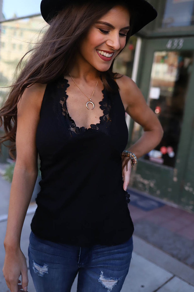 Elyse Lace Trim Halter Tank Top- Black - Barefoot Dreamer