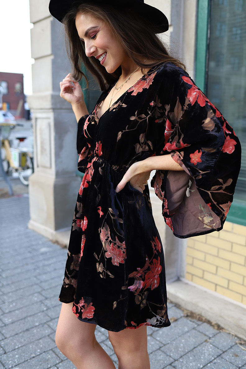 Velvet Dreams Floral Boho Bell Sleeve Dress - Barefoot Dreamer