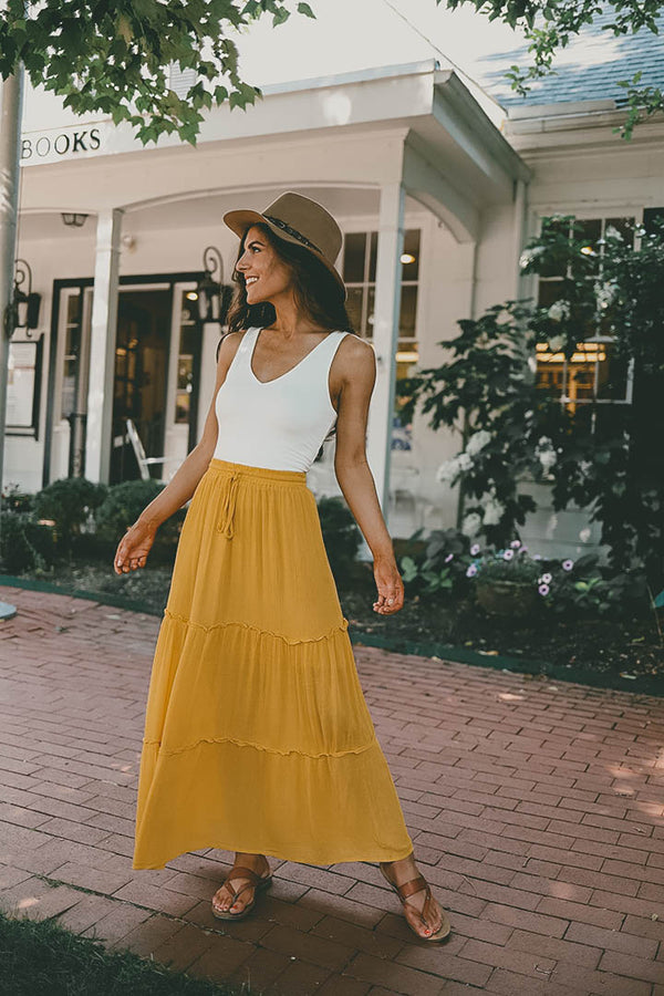 Free To Wander Tiered Ruffled Maxi Skirt - Mustard - Barefoot Dreamer