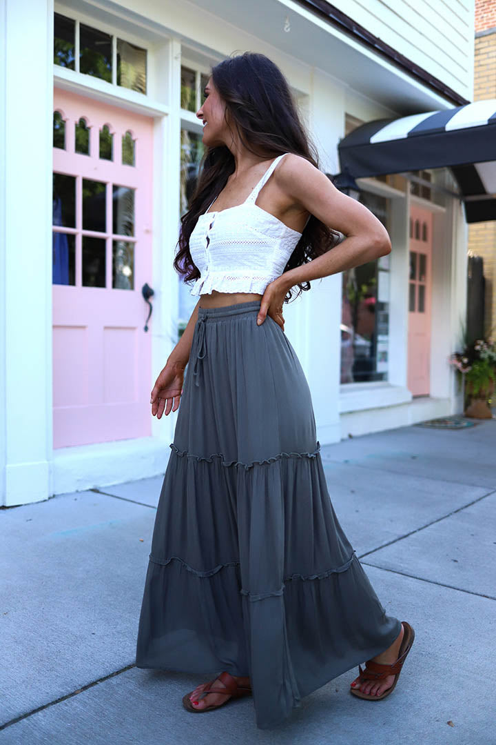 Free To Wander Tiered Ruffled Maxi Skirt - Olive - Barefoot Dreamer