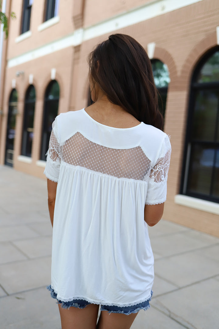Ryleigh Mesh Lace Top - White - Barefoot Dreamer