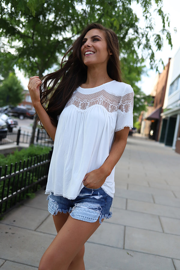 Ryleigh Mesh Lace Top - White