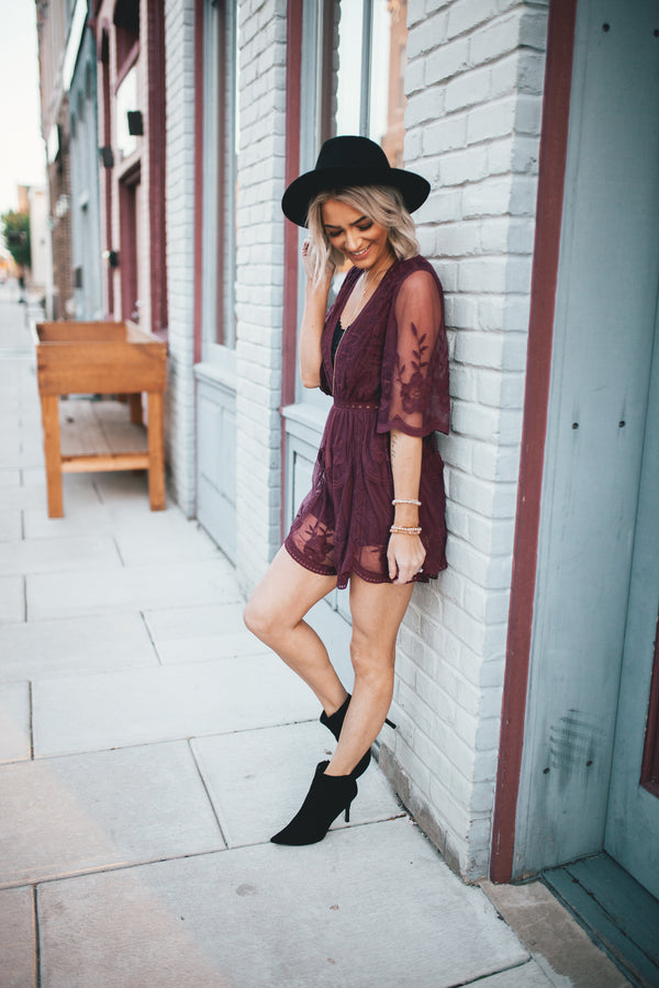 Olivia Embroidered Lace Romper - Wine - Barefoot Dreamer