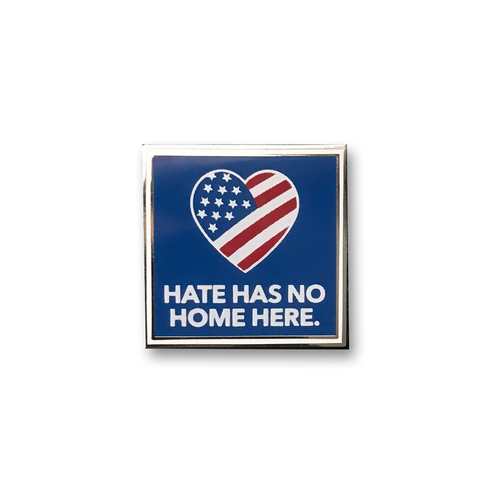Blue Hate Has No Home Here Pin