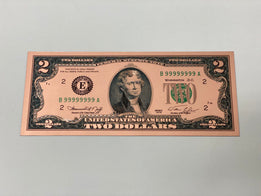Rose Gold Novelty U.S. $2 Dollar Bill
