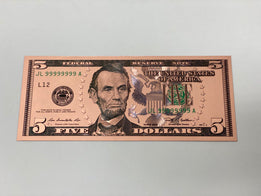 Rose Gold Novelty U.S. $5 Dollar Bill