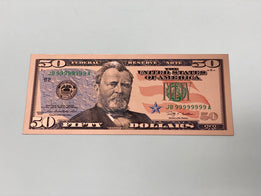 Rose Gold Novelty U.S. $50 Dollar Bill