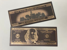 Black & Gold Plated Novelty $100 Bill