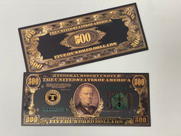 Black & Gold Plated $500 Novelty Bill