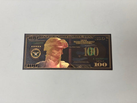 $100 Support The Troops BLACK Banknote