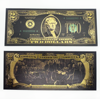"Lucky Black & Gold $2 Collectible ""Good Luck Certificate"" Bill"