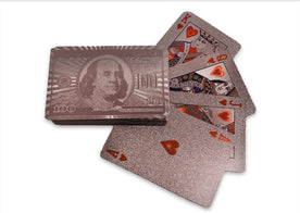 $100 Bill Pattern Gold Foil Playing Cards Waterproof - SPECIAL SALE