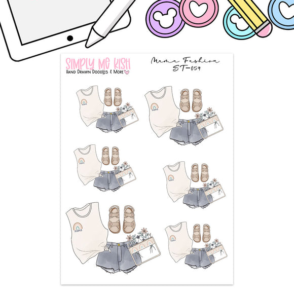 Mama Fashion Flatlay Stickers