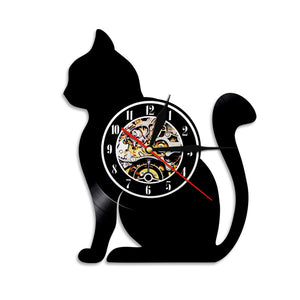 Horloge Vinyle Chat Assis