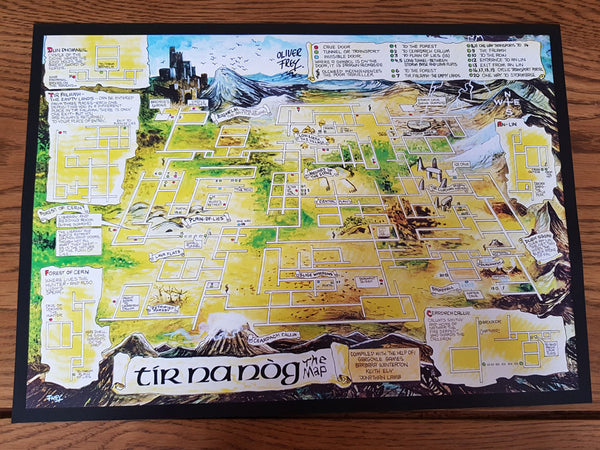 Tir Na Nog A3 map - signed by OIi - Fusion Retro Books